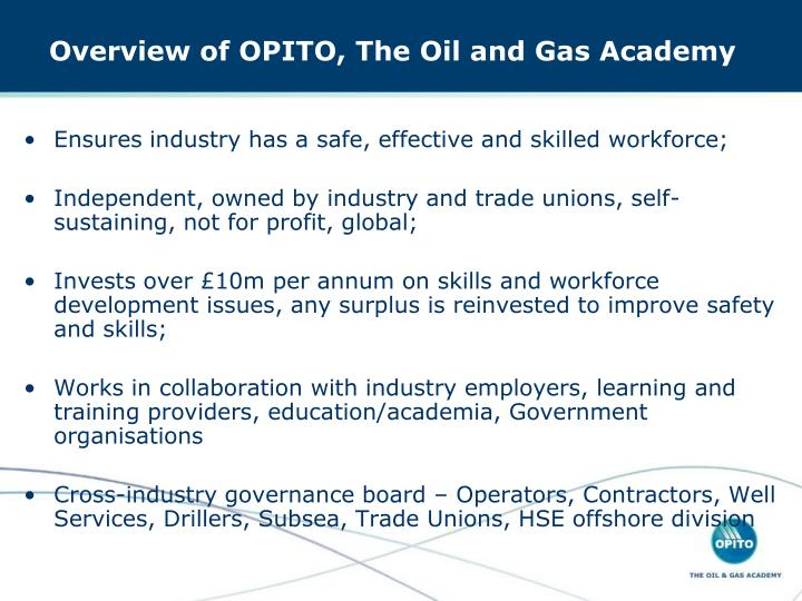 Overview of opito the oil and gas academy
