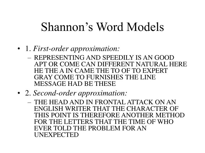 Shannon's Word Models