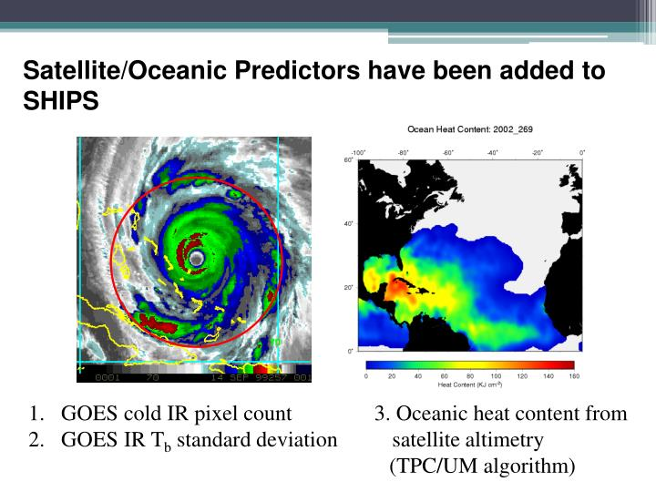 Satellite/Oceanic Predictors have been added to SHIPS