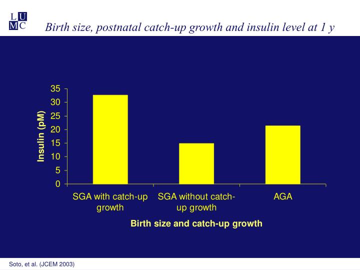 Birth size, postnatal catch-up growth and insulin level at 1 y