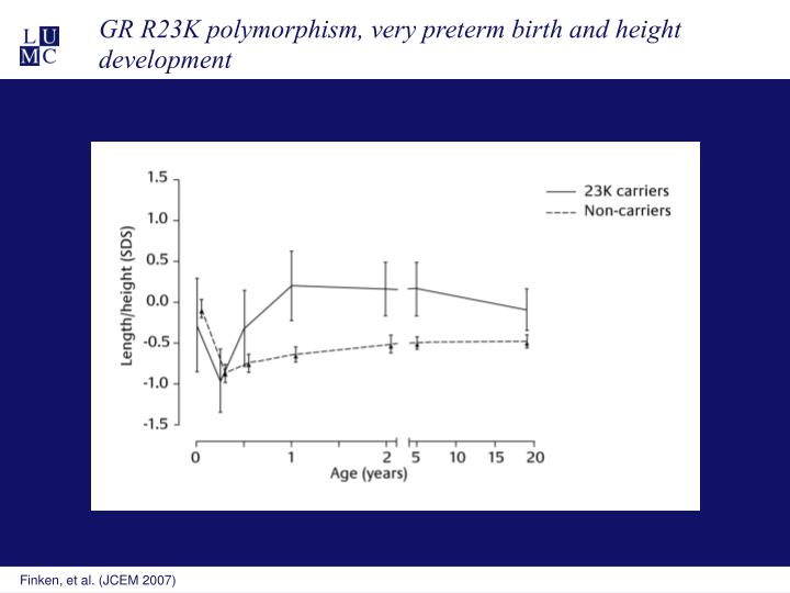 GR R23K polymorphism, very preterm birth and height development