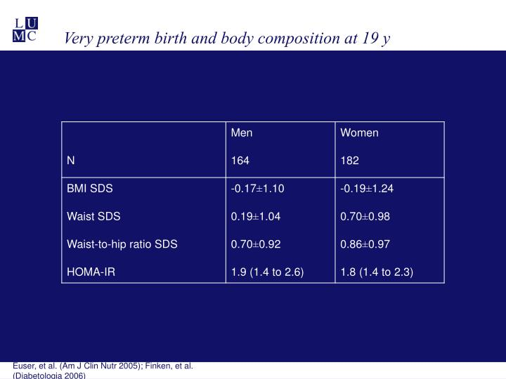 Very preterm birth and body composition at 19 y