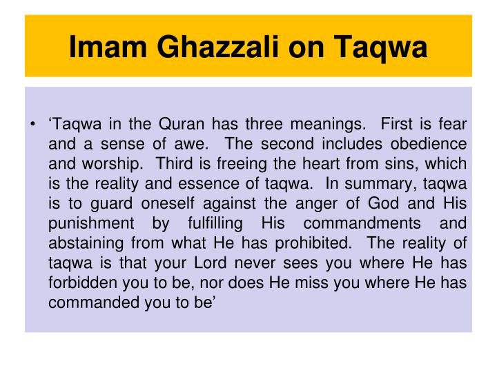 Imam Ghazzali on Taqwa