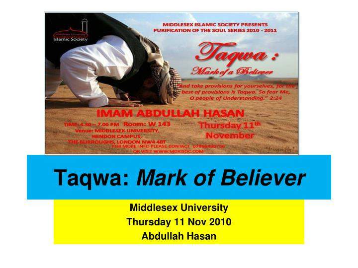 Taqwa mark of believer