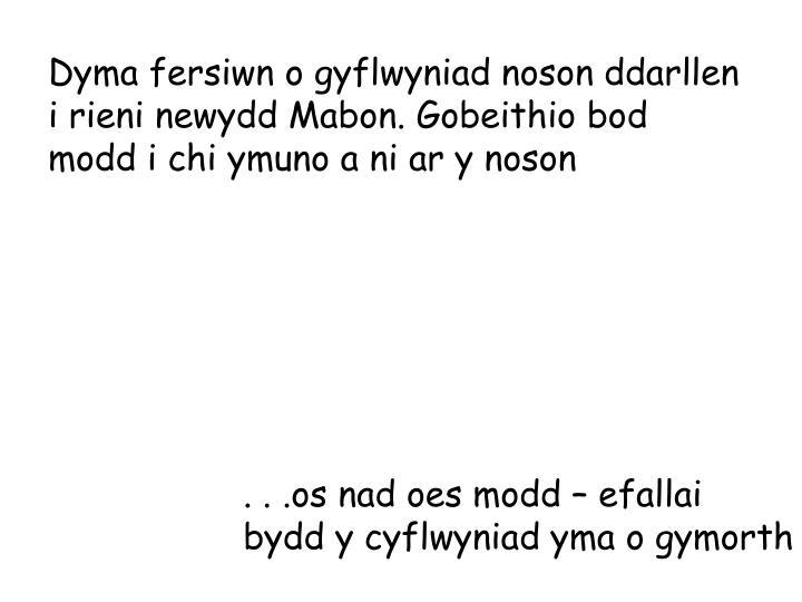 Dyma fersiwn o gyflwyniad noson ddarllen