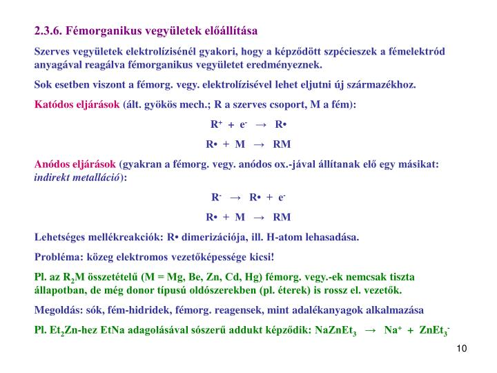 2.3.6. Fémorganikus vegyületek előállítása
