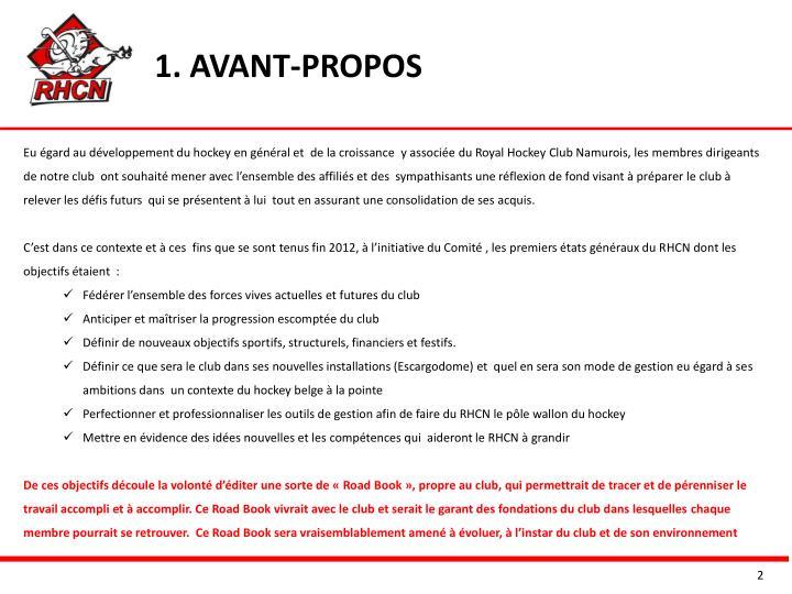 1. AVANT-PROPOS