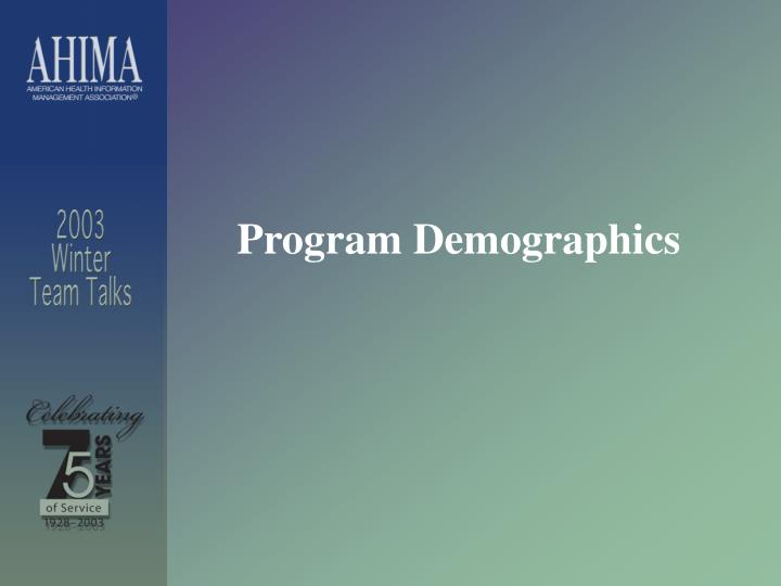 Program Demographics