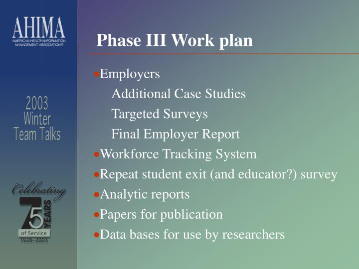 Phase III Work plan