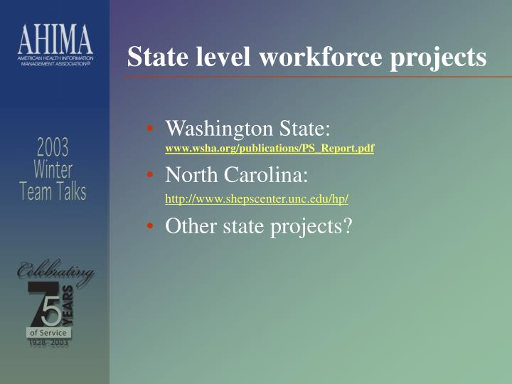 State level workforce projects