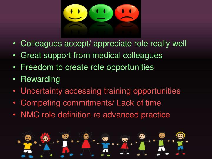 Colleagues accept/ appreciate role really well