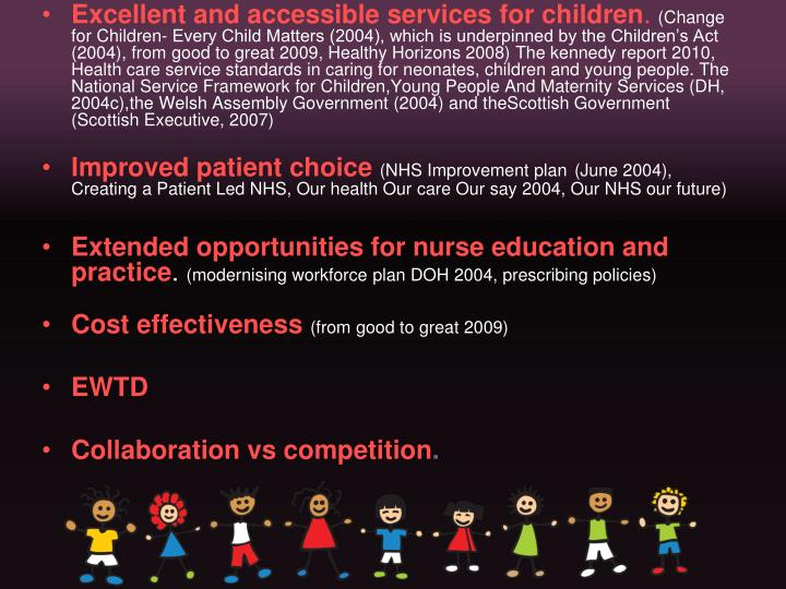 Excellent and accessible services for children