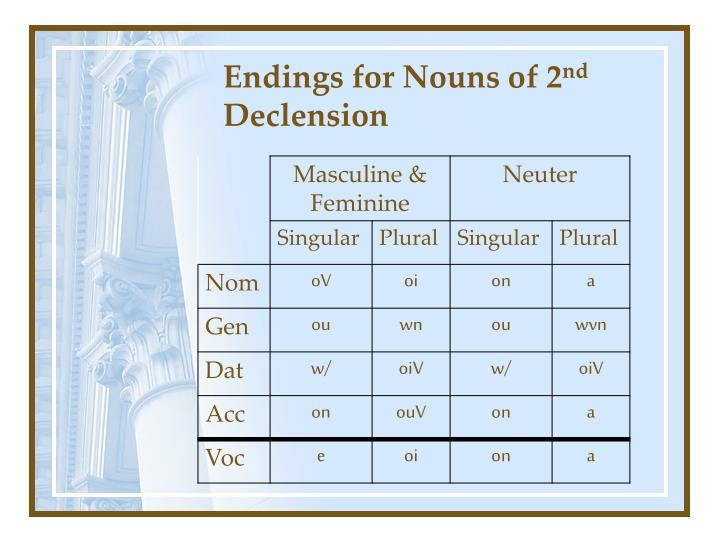 Endings for Nouns of 2