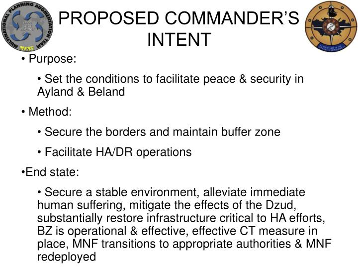 PROPOSED COMMANDER'S