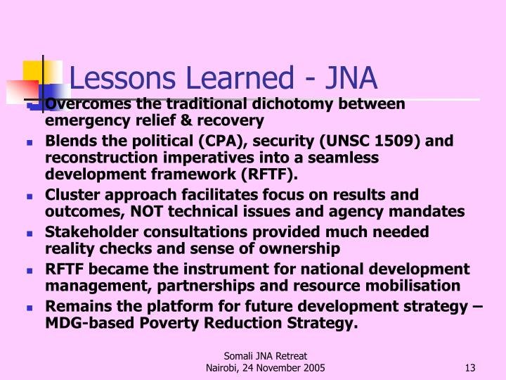 Lessons Learned - JNA