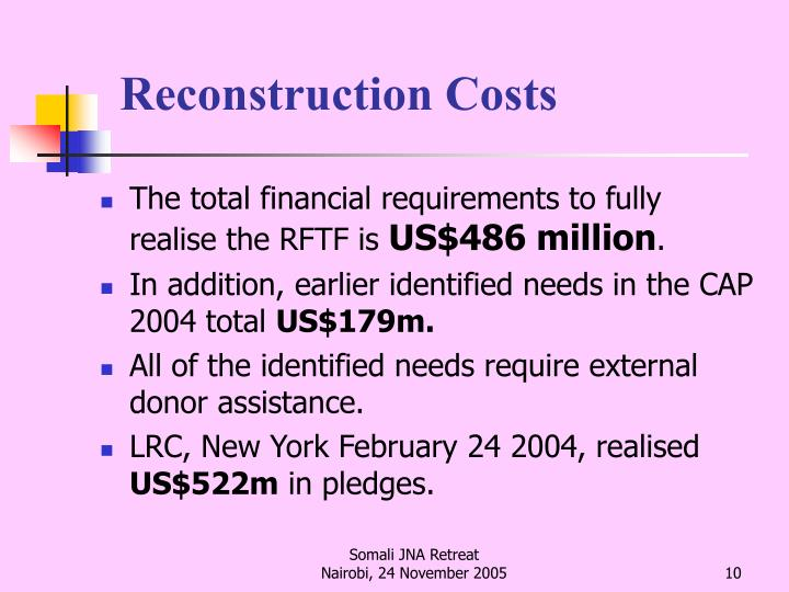 Reconstruction Costs