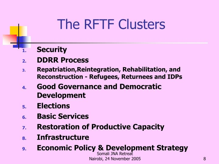 The RFTF Clusters