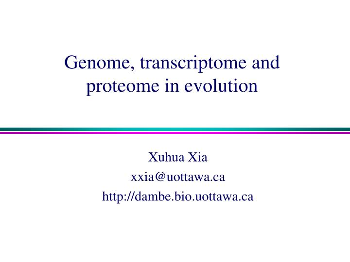 Genome transcriptome and proteome in evolution