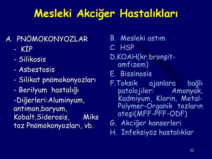 A.  PNÖMOKONYOZLAR