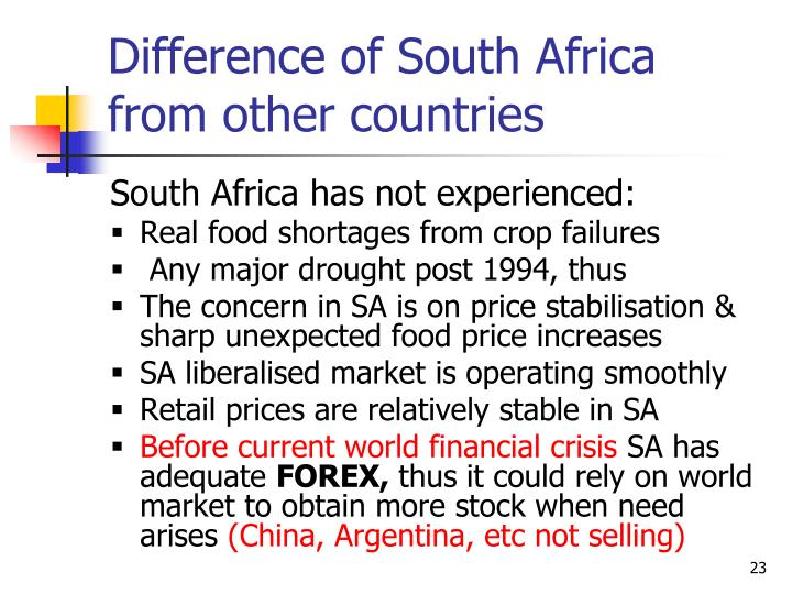Difference of South Africa from other countries