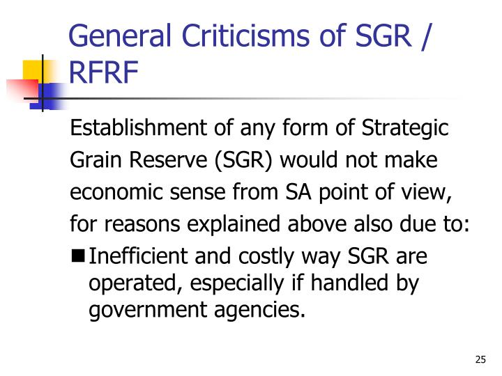 General Criticisms of SGR / RFRF