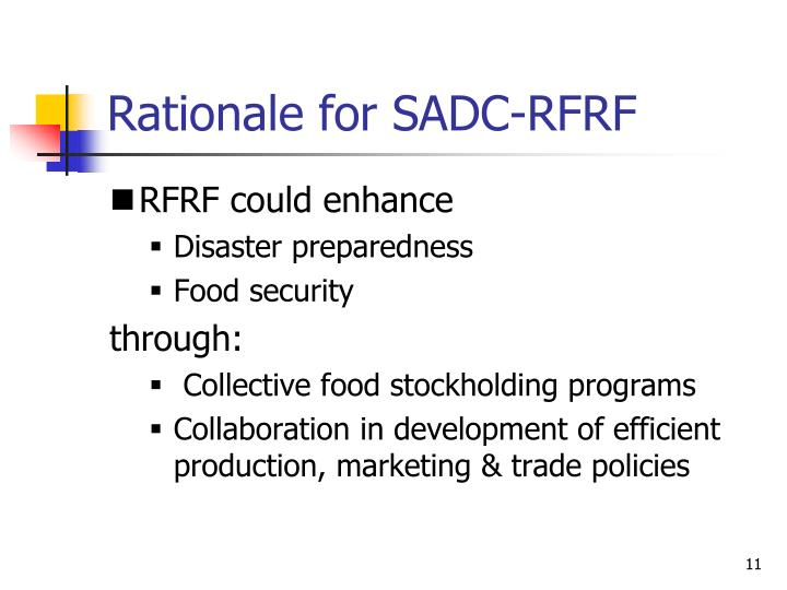 Rationale for SADC-RFRF