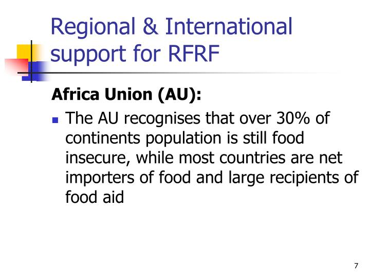 Regional & International support for RFRF