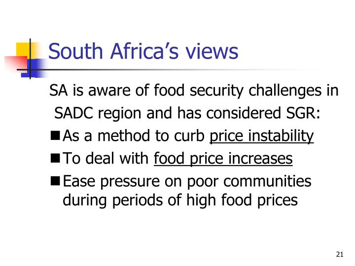 South Africa's views