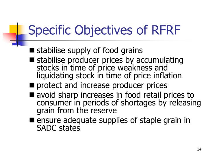 Specific Objectives of RFRF