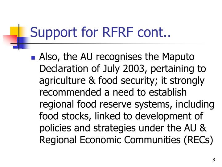 Support for RFRF cont..