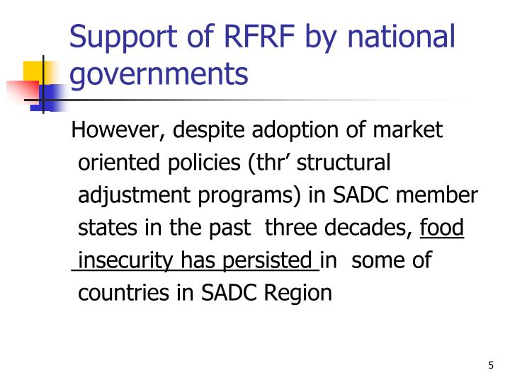 Support of RFRF by national governments