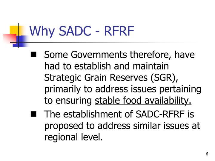 Why SADC - RFRF