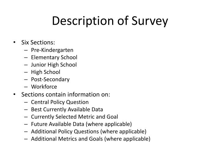 Description of Survey