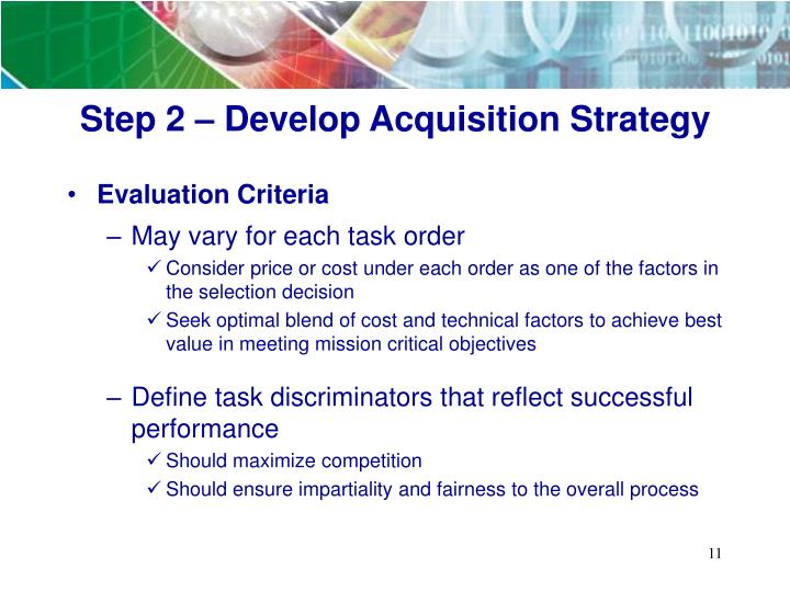 Step 2 – Develop Acquisition Strategy
