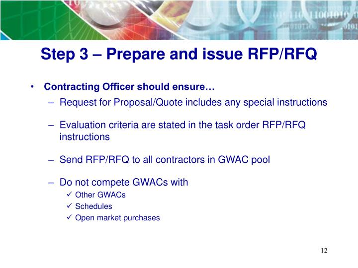 Step 3 – Prepare and issue RFP/RFQ
