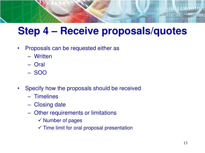 Step 4 – Receive proposals/quotes