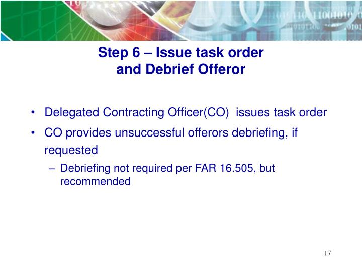 Step 6 – Issue task order