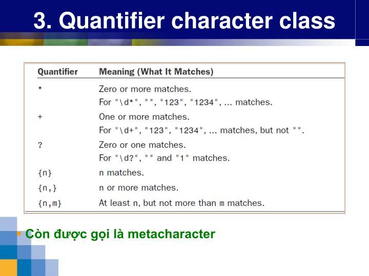 3. Quantifier character class