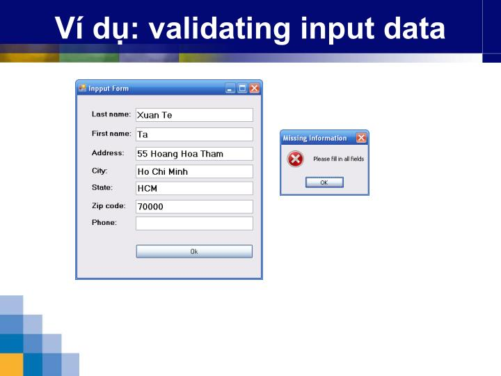 Ví dụ: validating input data