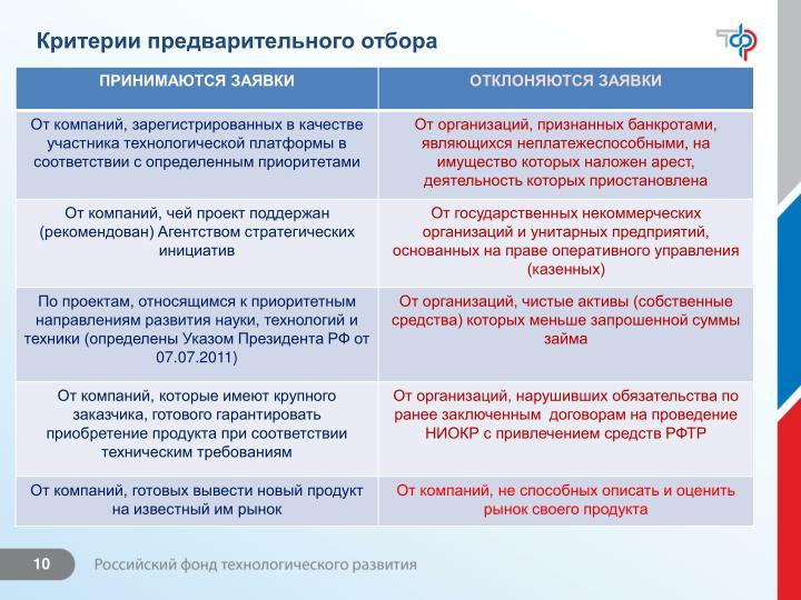 Критерии предварительного отбора