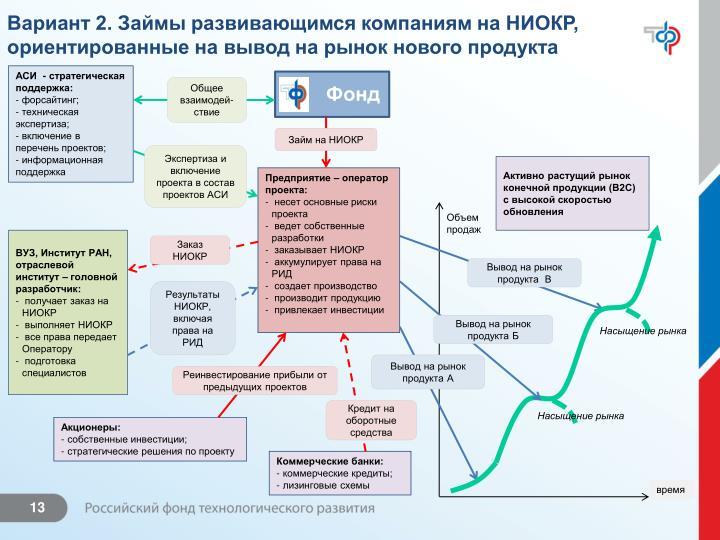 Вариант 2. Займы развивающимся компаниям на НИОКР, ориентированные на вывод на рынок нового продукта