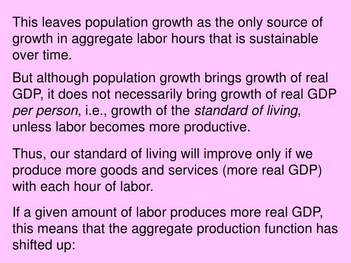 This leaves population growth as the only source of growth in aggregate labor hours that is sustainable over time.