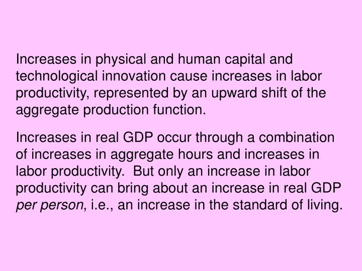 Increases in physical and human capital and technological innovation cause increases in labor productivity, represented by an upward shift of the aggregate production function.