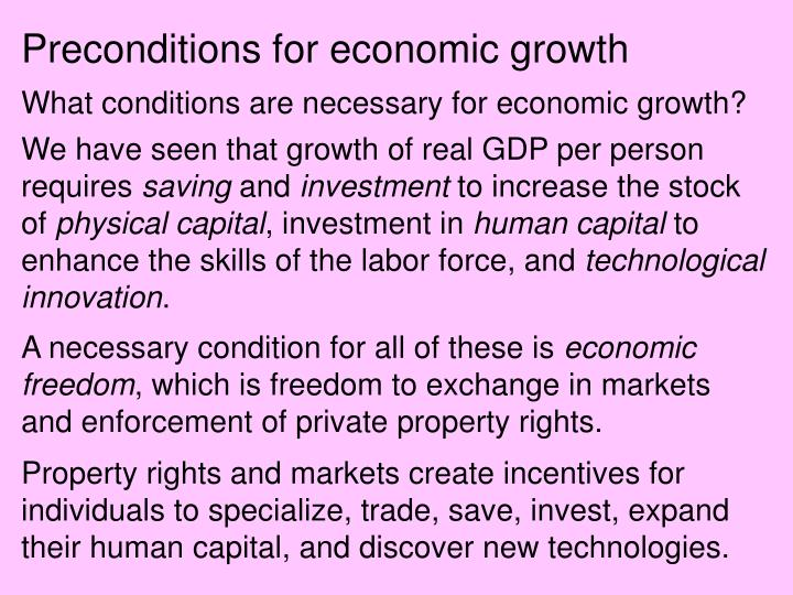 Preconditions for economic growth