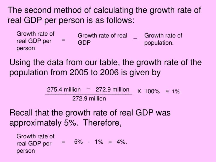 The second method of calculating the growth rate of real GDP per person is as follows: