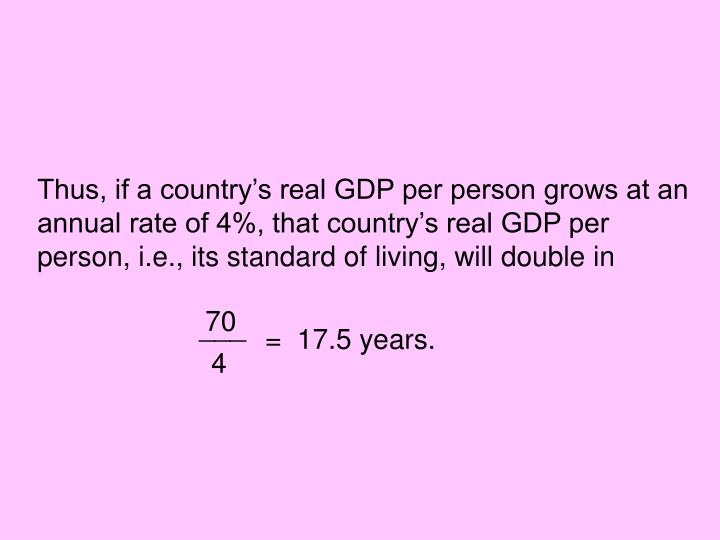 Thus, if a country's real GDP per person grows at an annual rate of 4%, that country's real GDP per person, i.e., its standard of living, will double in
