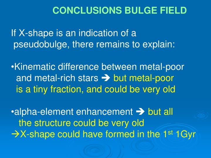 CONCLUSIONS BULGE FIELD