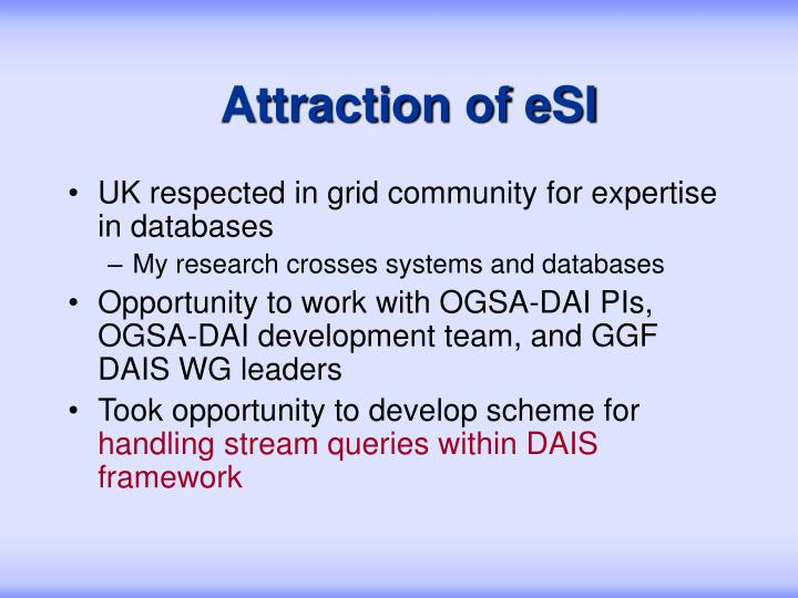 Attraction of esi