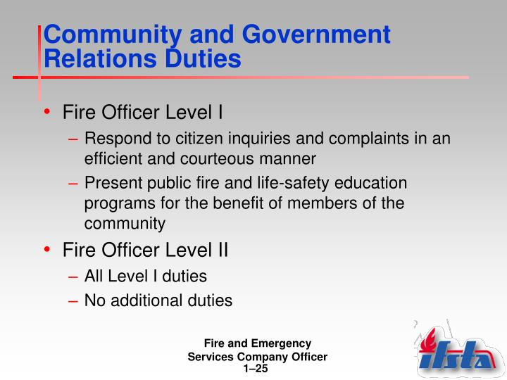 Community and Government Relations Duties