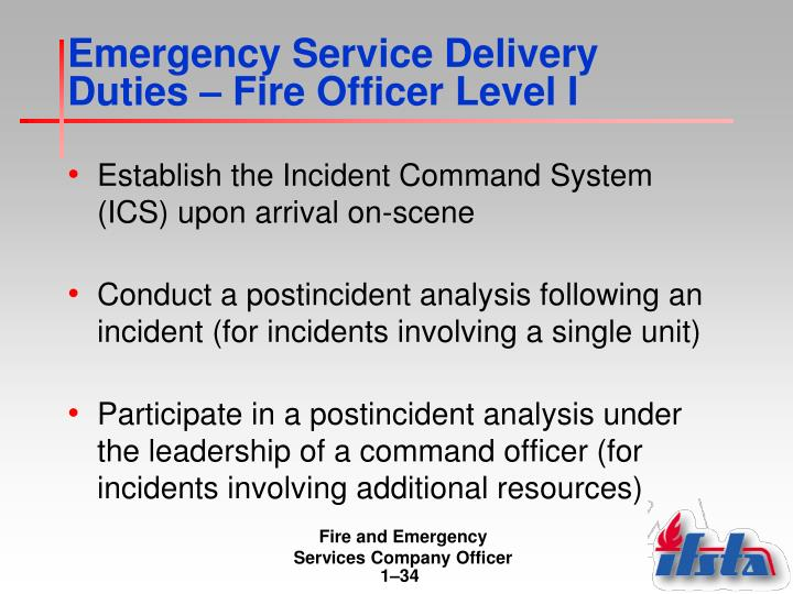 Emergency Service Delivery Duties – Fire Officer Level I
